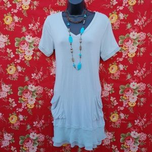 LOGO INSTANT CHIC SKY BLUE LAYERED TUNIC *122